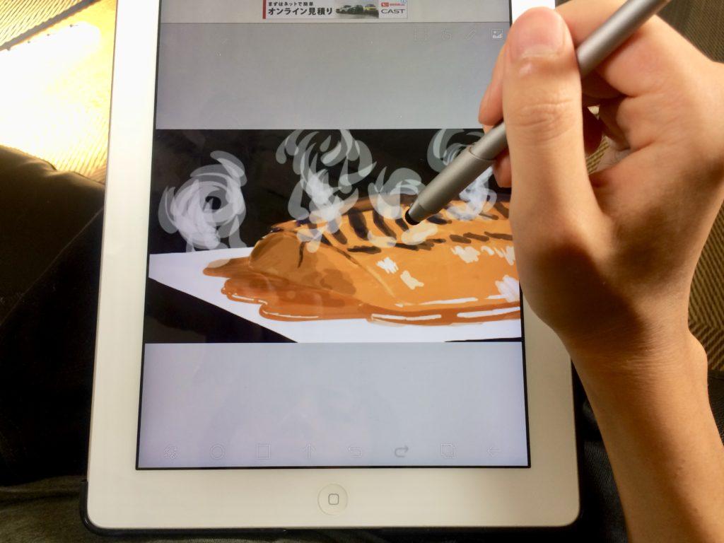 サバ味噌絵描いてる