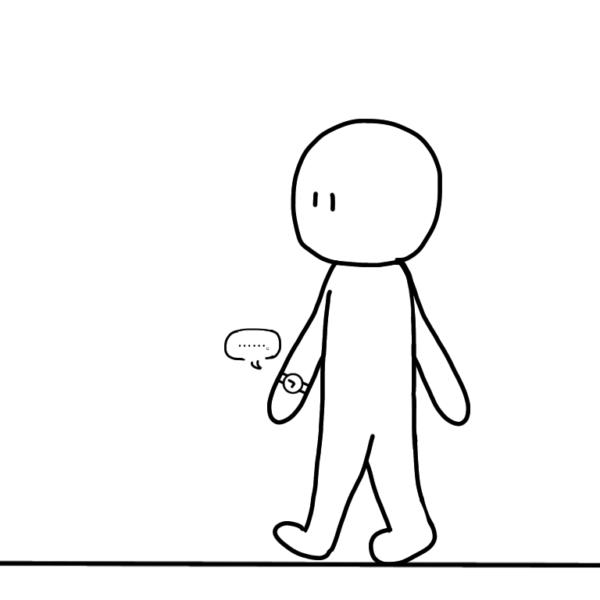 ペットの「とけい」と一緒に散歩をしている